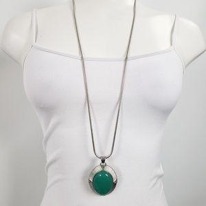 Lia Sophia Silver & Green Pendant Long Necklace